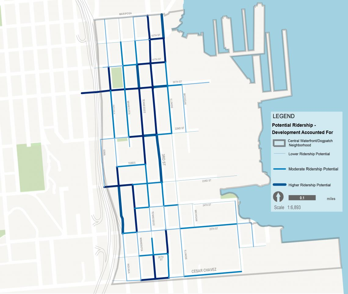Dogpatch-Central Waterfront - Future potential ridership w/future development accounted for