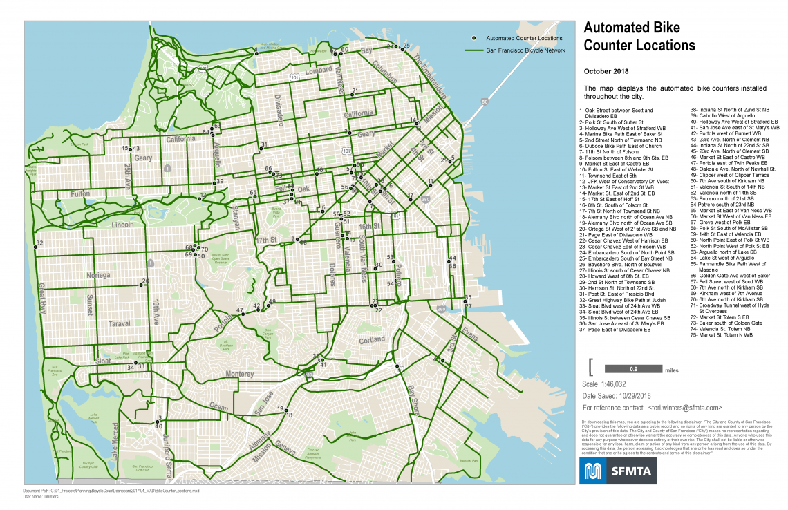 A map of automated bike counter locations in San Francisco