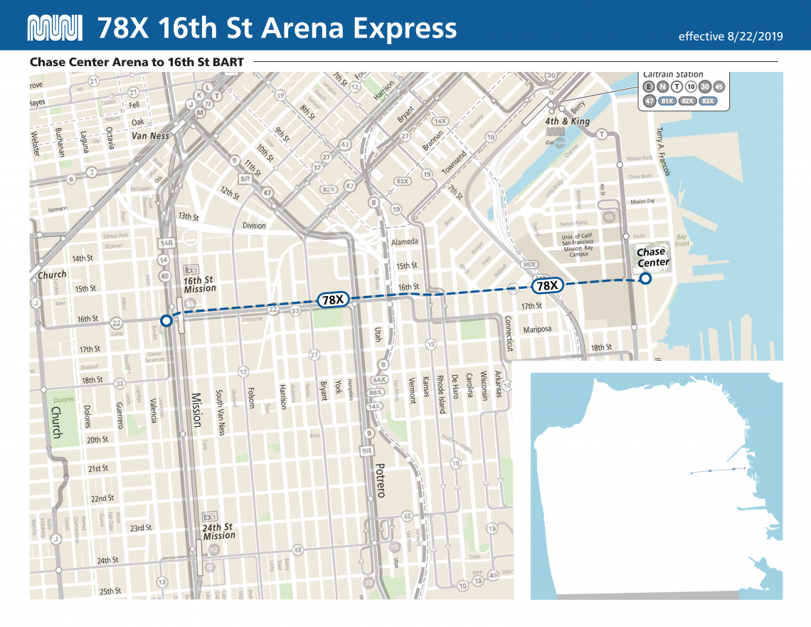 Map of 78X 16th St Arena Express Route