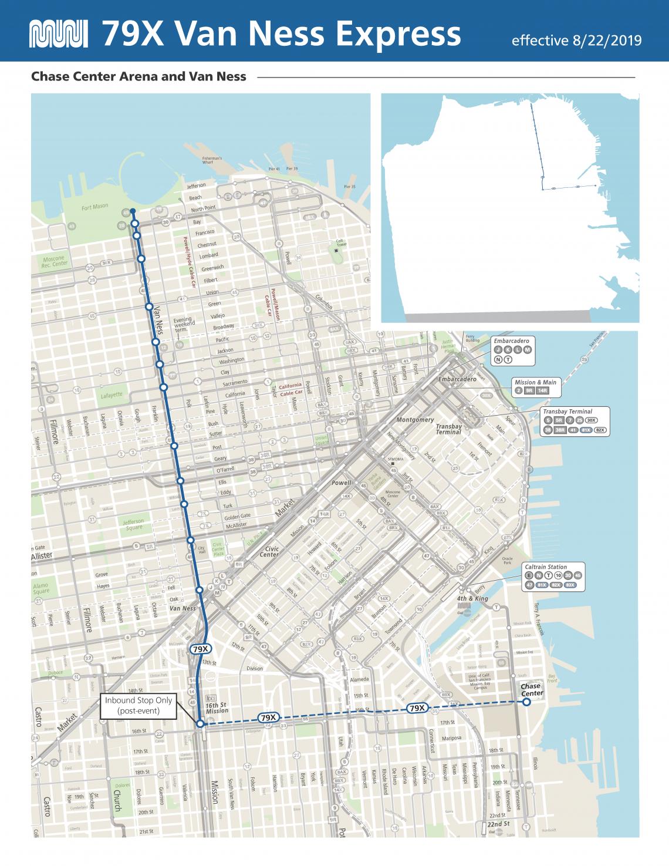 Map of 79X Van Ness Arena Express