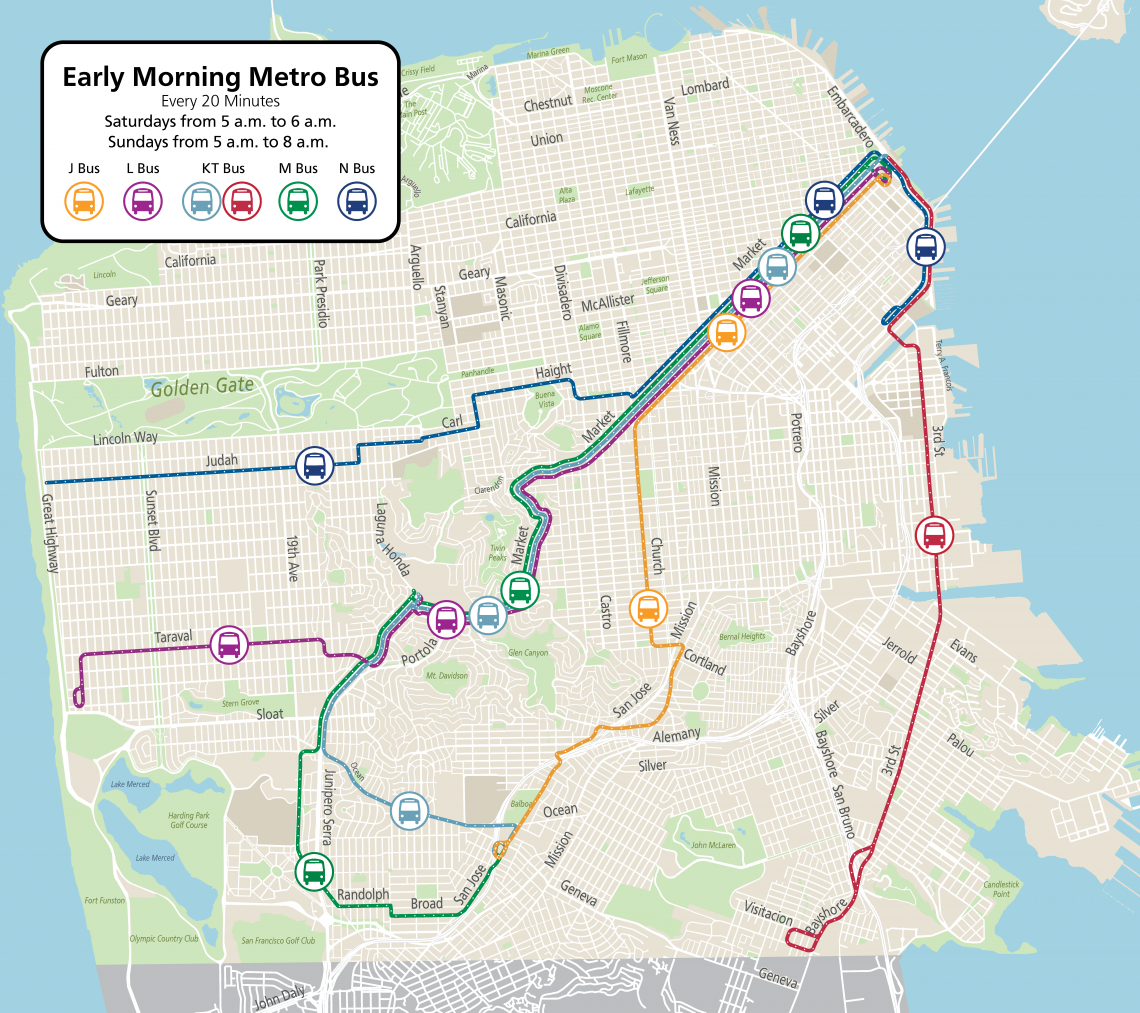 Map of the Muni Early Morning Metro Bus System running every 20 minutes on Saturday from 5 to 6 am and on Sunday from 5 to 8 am.