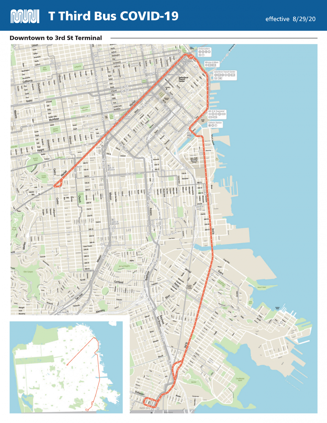 Route map for T Bus
