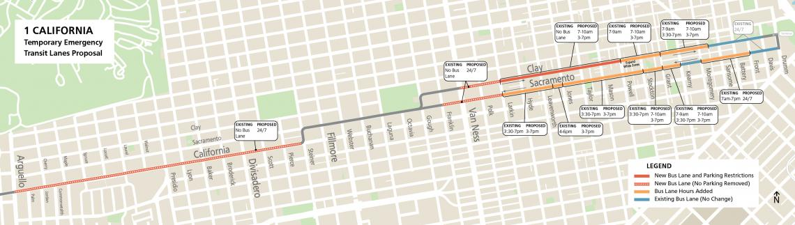 Map showing new proposed transit lanes between Arguello & Steiner. East of Larkin some existing bus lane hours would be extended