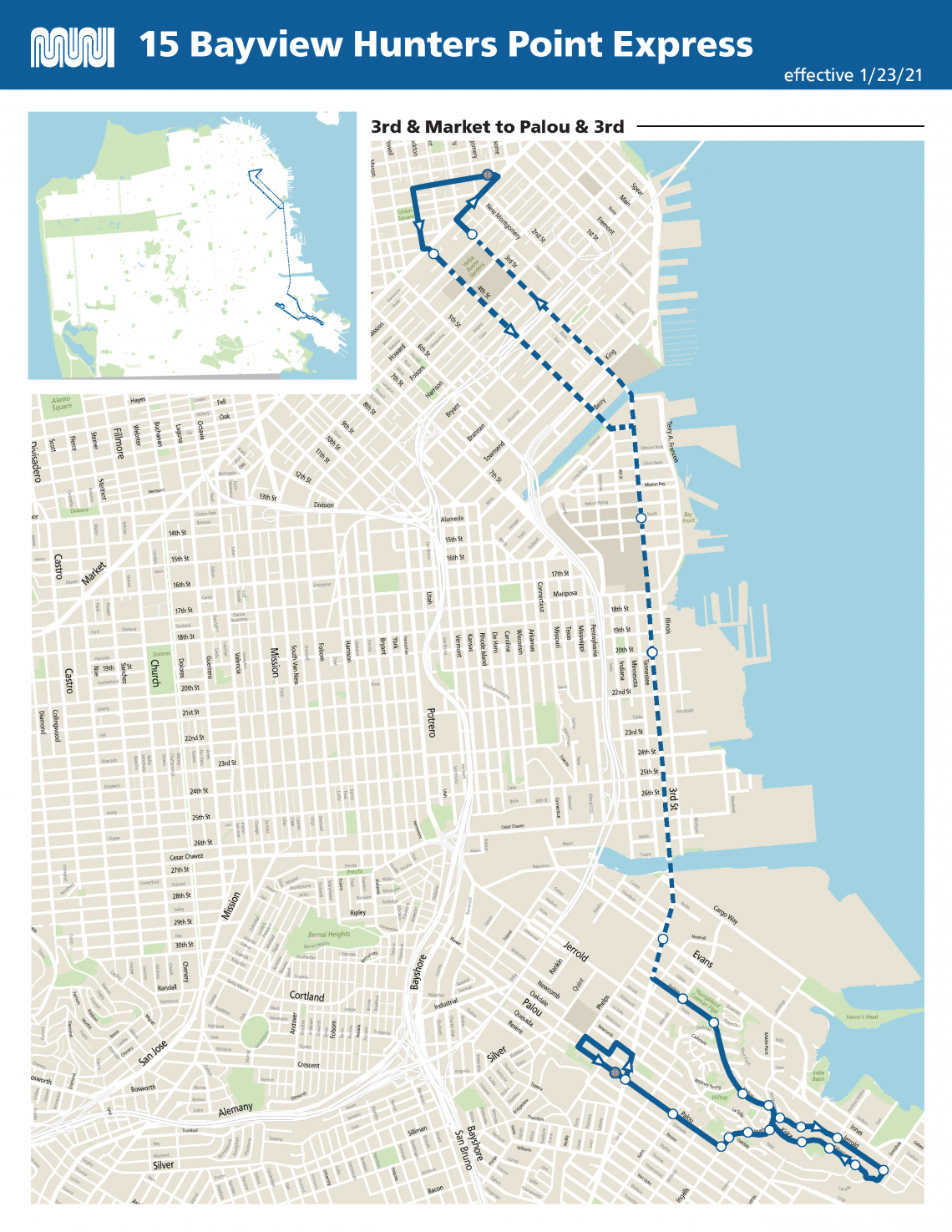 15 Bayview Hunters Point Express Route Map