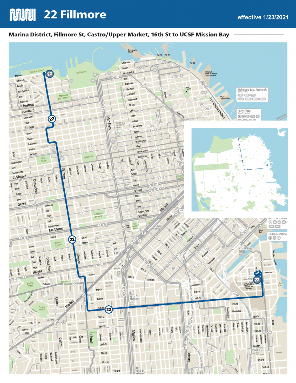 22 Fillmore Route Map