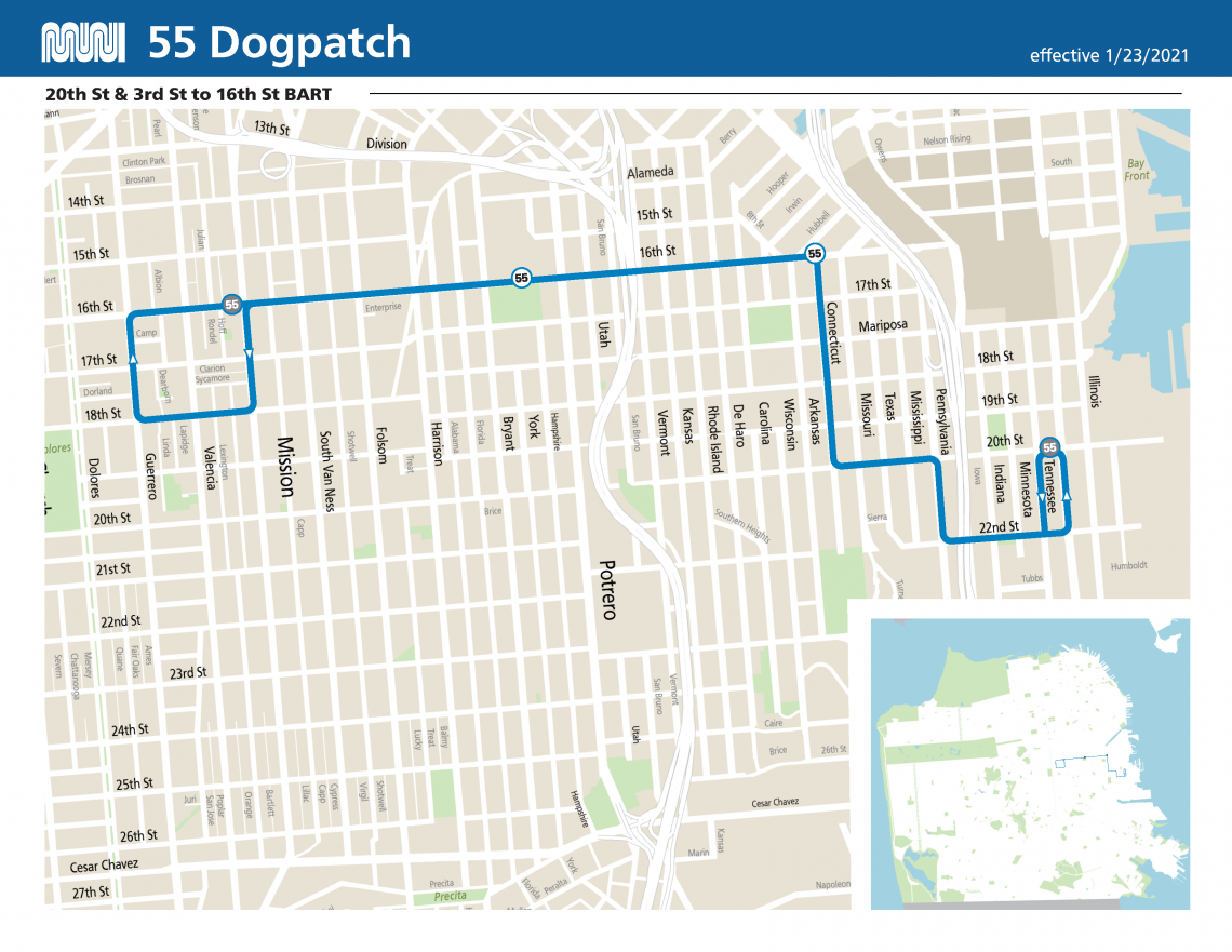 55 Dogpatch Route Map
