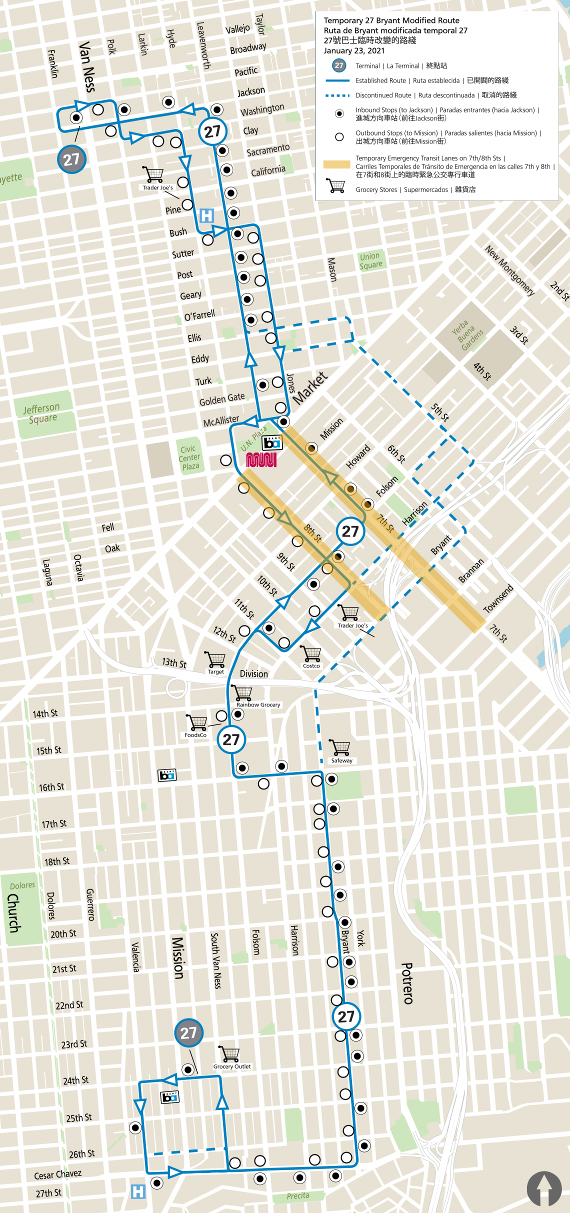 Map of 27 Bryant temporary reroute from 5th Street to 7th and 8th streets