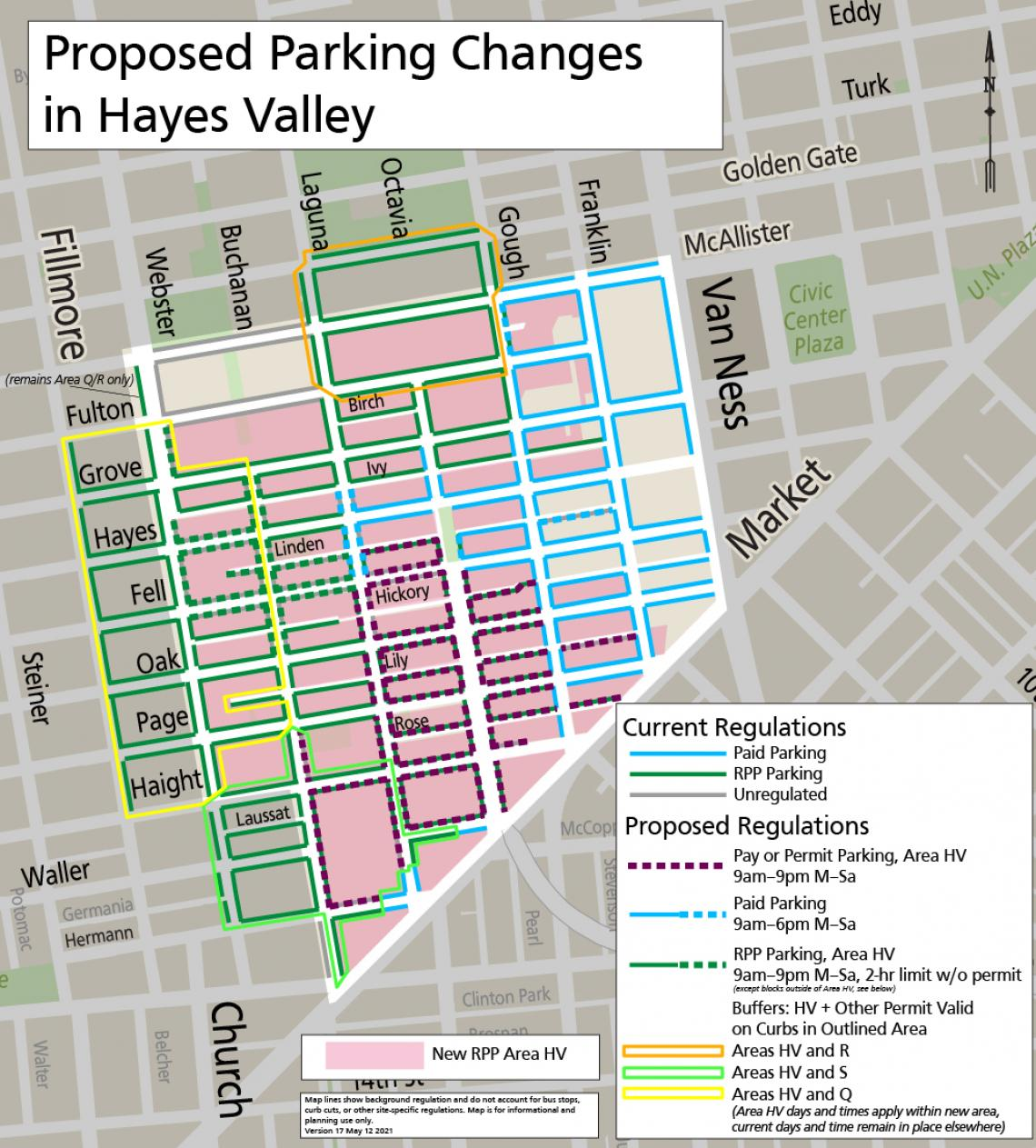Map showing proposed parking changes in Hayes Valley. Text version of proposal available on the project webpage.