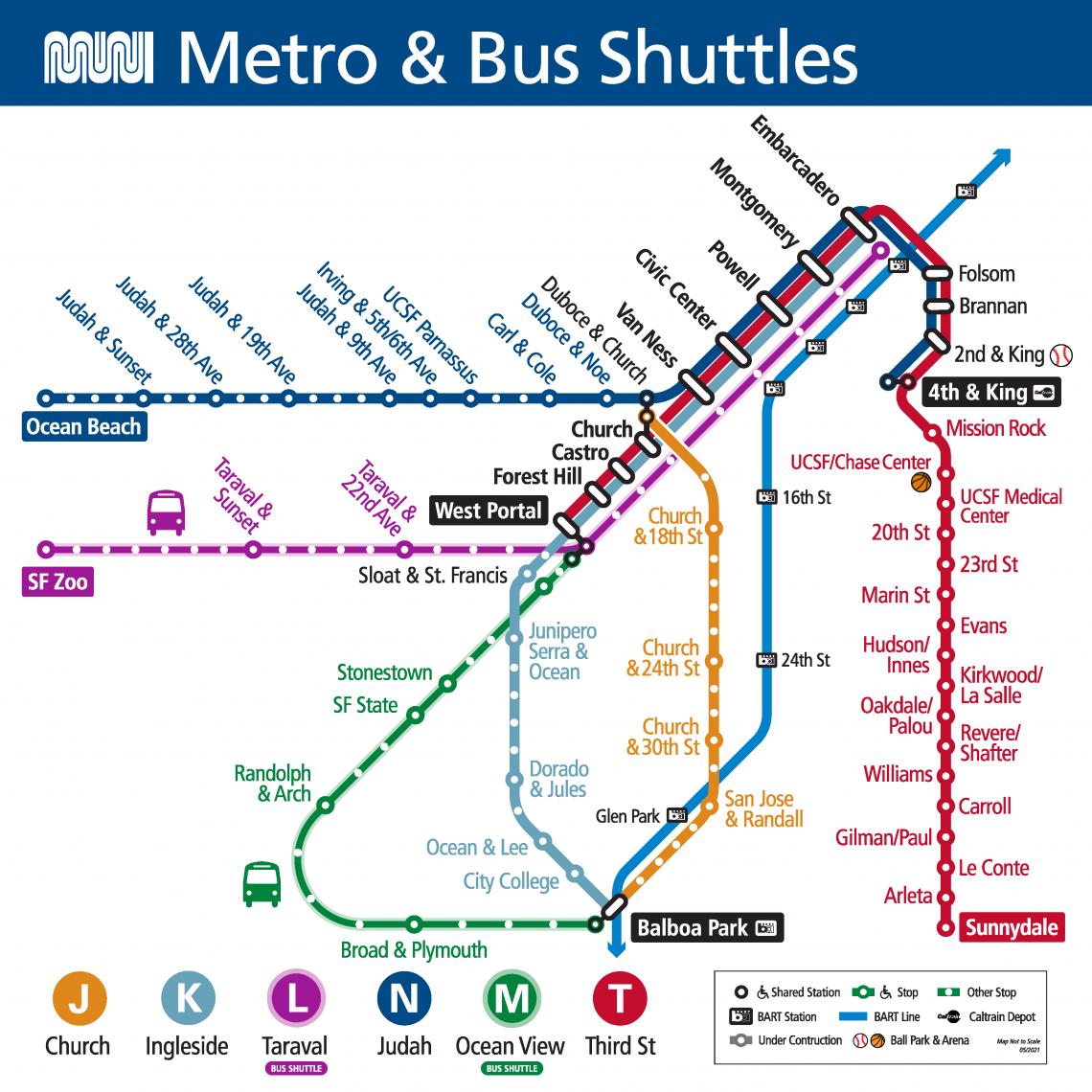 Muni Metro Map Starting May 15, 2021