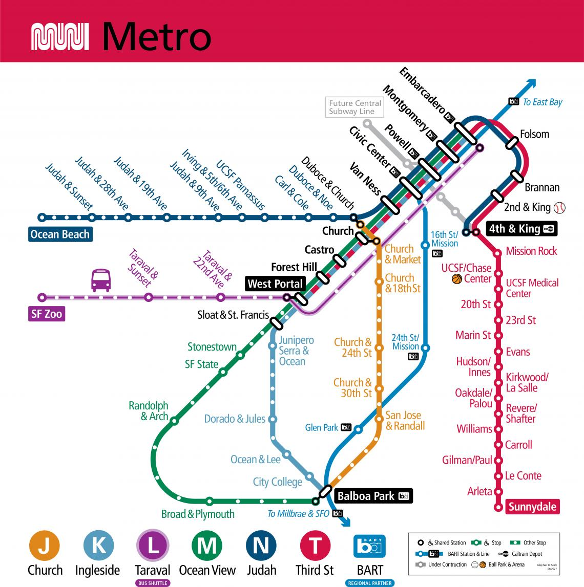 Muni Metro System Map effective August 14, 2021