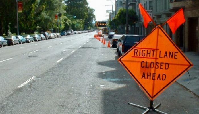 Lane blocked on Oak Street