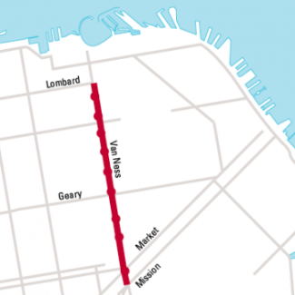 A map of San Francisco showing the Van Ness Improvement Project Corridor on Van Ness Avenue from Lombard to Mission streets