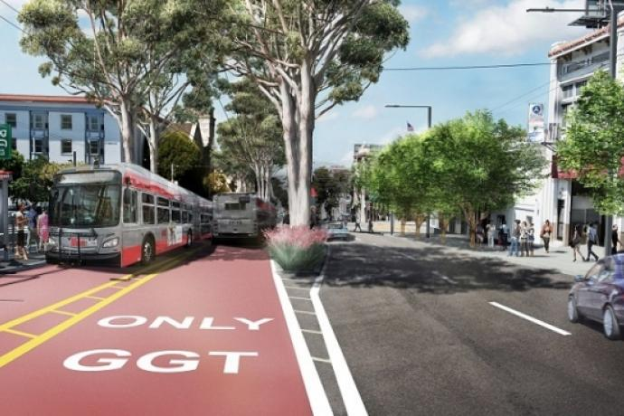 A rendering of Van Ness Avenue with bus-only lanes, new trees and other improvements.