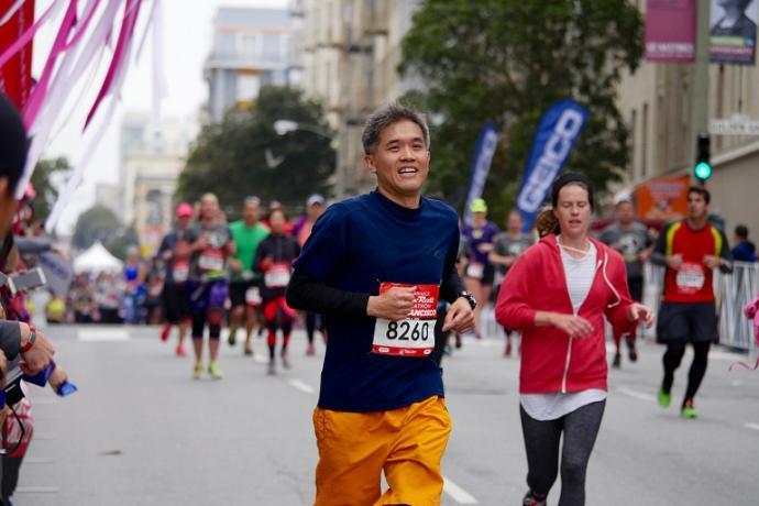 Man Running in Rock&Roll Marathon 2016