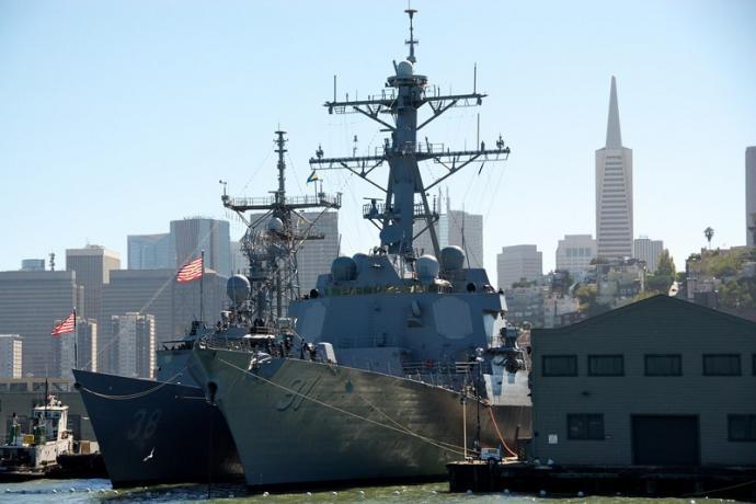 Docked Naval ships during Fleet Week 2010
