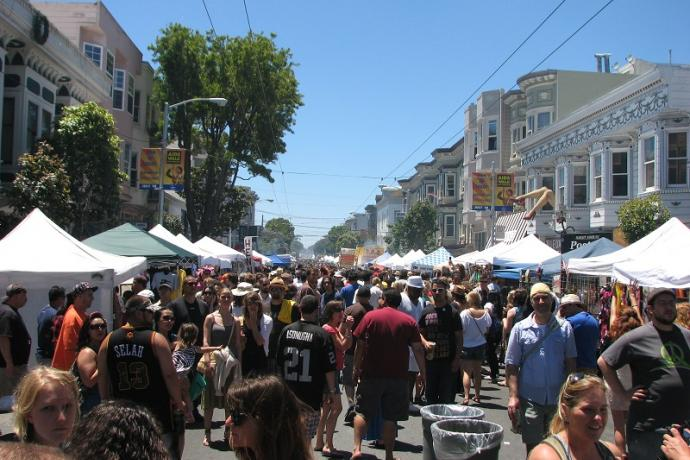 Looking west down Haight Street during 2010 Haight-Ashbury Street Fair.