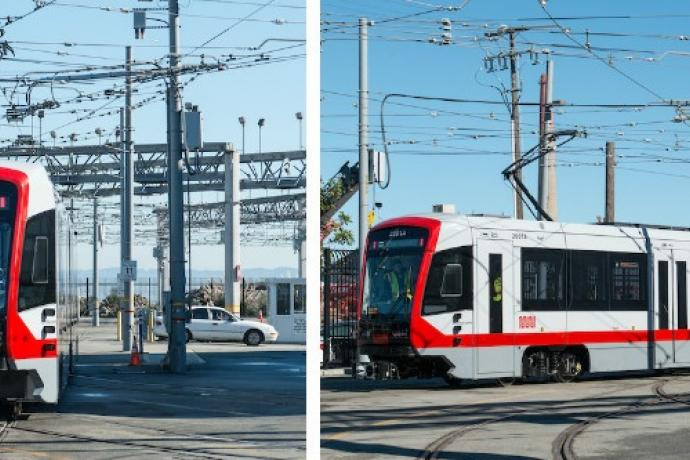 A collage of three photos showing the new red and gray Muni light-rail vehicles in the Muni Metro East rail yard.