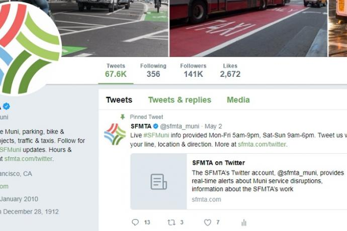 """A screenshot of the SFMTA's Twitter account webpage. The account description states, """"We manage Muni, parking, bike & walking projects, traffic & taxis. Follow for real-time #SFMuni updates. Hours & more info at http://sfmta.com/twitter."""""""