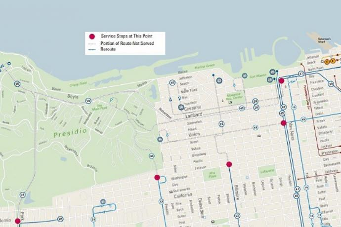 Detailed map of San Francisco Presidio and surrounding neighborhoods showing the reroutes for Saturday.