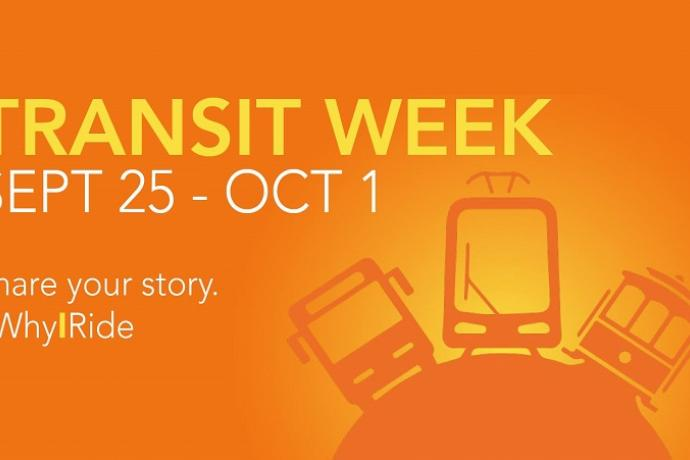 "Image with illustration of transit vehicles and text, ""Transit week Sept. 25 - Oct. 1. Share your story. #WhyIRide."""