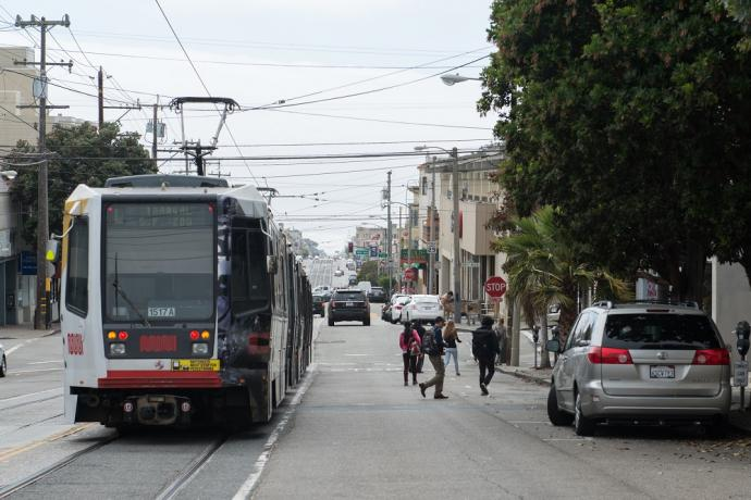 Riders exiting L Taraval train