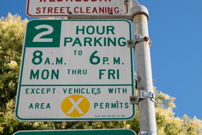 residential parking permit sign in potrero hill