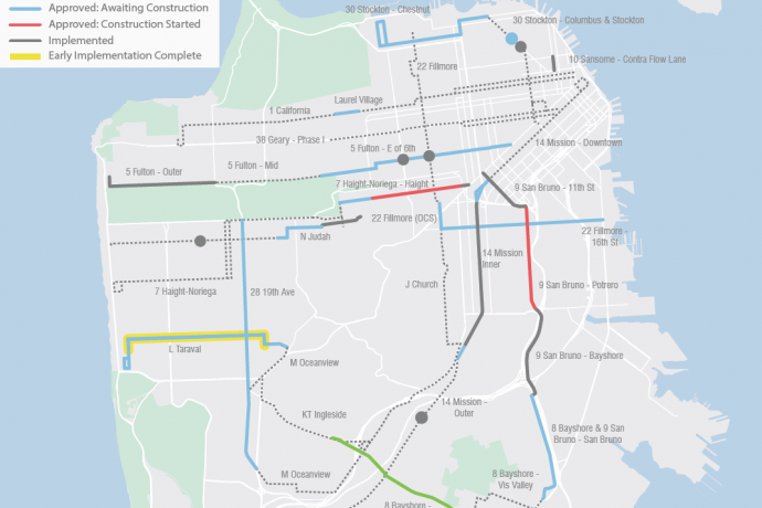 Map: Muni Forward Transit Priority Projects