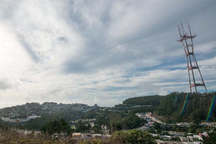 view of western side of twin peaks with sutro tower