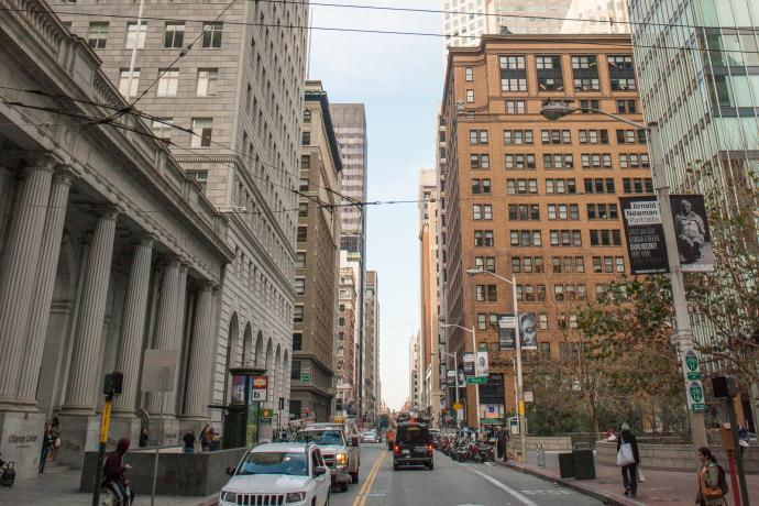 street scene in Financial District
