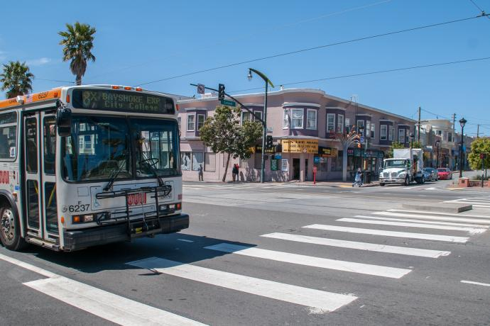 8x Bayshore Express bus passing leland ave on 3rd street in visitacion valley