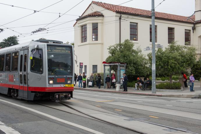 L Taraval passing West Portal Library