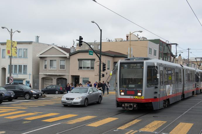 N Judah train at 19th Ave and Judah in Outer Sunset
