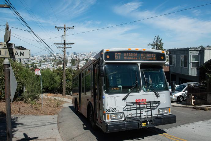 Bernal Heights Bus with Route 67 Head Sign