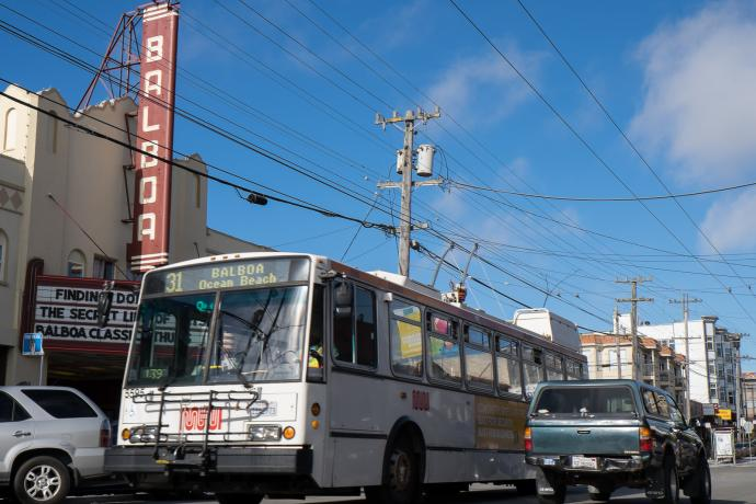 31 balboa bus passing balboa theatre on balboa avenue in outer richmond