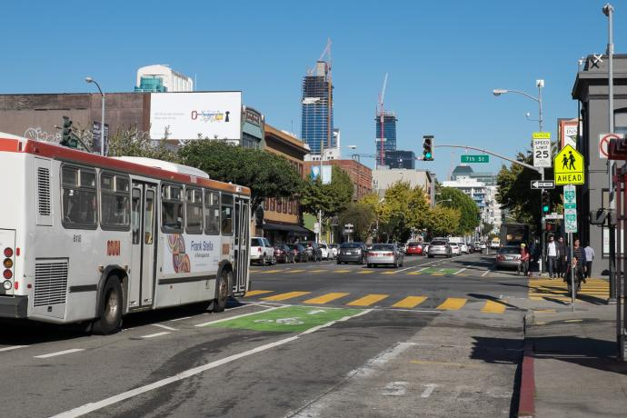 12 folsom bus passing 7th street on folsom in South of Market area