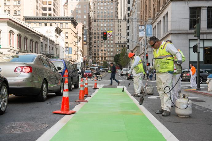 sfmta painters laying new bike lane on 2nd street