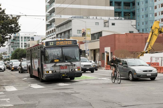 bus, cyclist, and auto traffic on Folsom Street