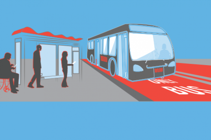 Graphic of bus with red transit only lanes