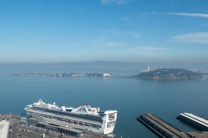 A view of Treasure Island and the San Francisco Bay
