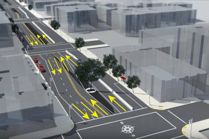 The yellow arrows in this rendering illustrate how traffic will be configured around the median trees to preserve them through