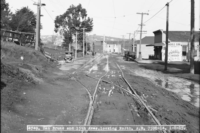 Picture of the Bayshore tracks without a freeway