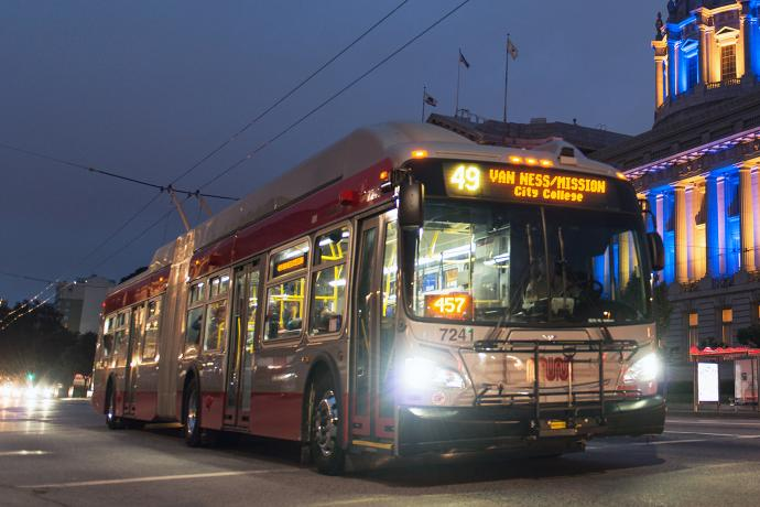 Link to blog post entitled New Sixty Foot Trolley Buses Arrive with image of new electric trolley bus