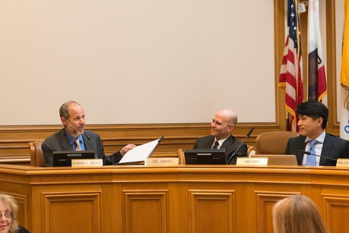 Ed Reiskin speaking at an SFMTA Board Meeting