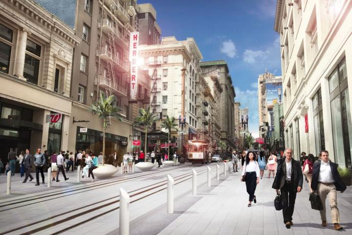 A rendering of the Powell streetscape conceptual design, including high-quality pavers, a curbless surface, and other elements