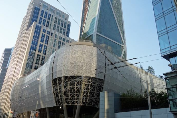 Exterior shot of the new Salesforce Transit Center
