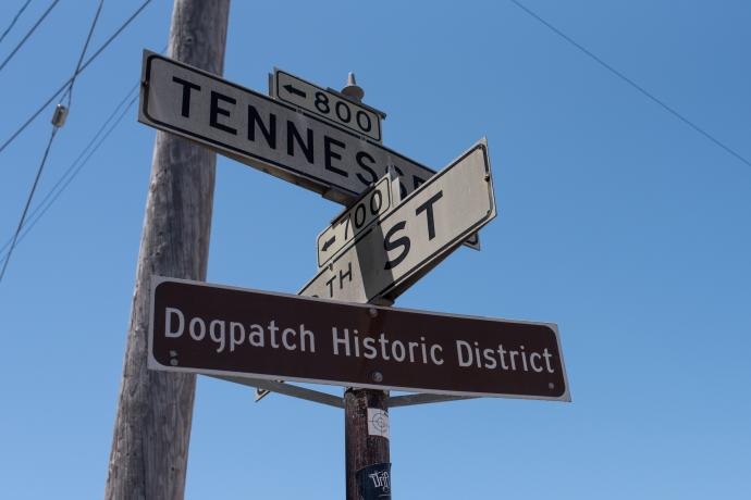 Dogpatch signs indicate its historic status