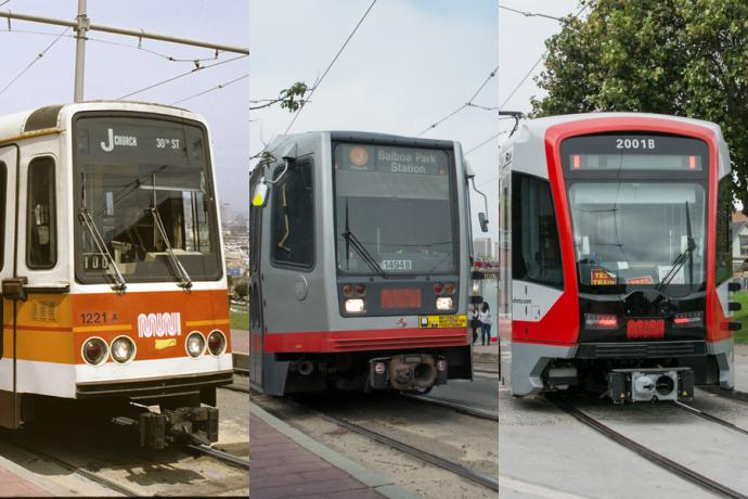 3 generations of muni LRV car