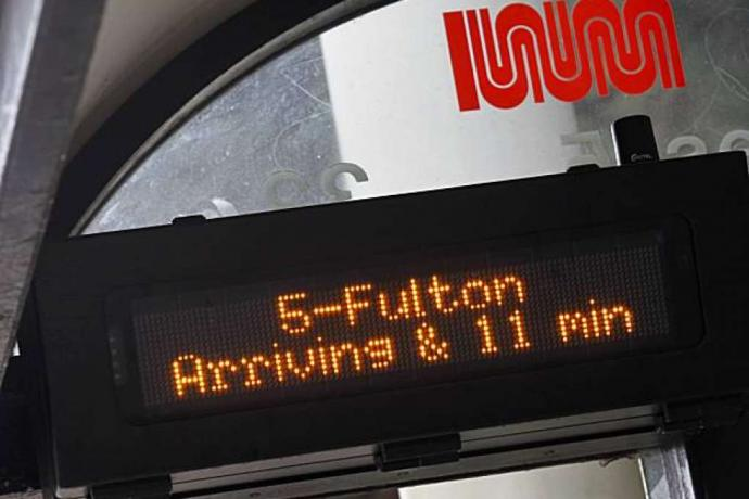 Image of NextBus digital sign with arrival information