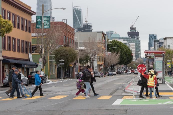 People crossing the road.