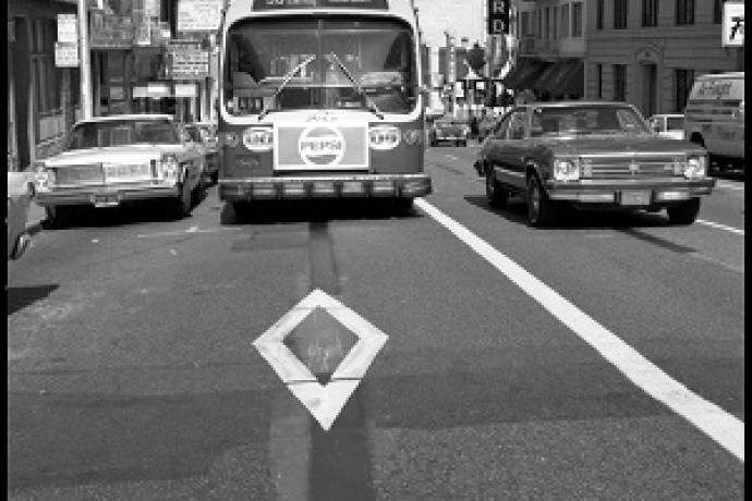 The first transit only lane on the 38 Geary.